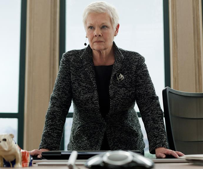 Judi as the formidable M in the *James Bond* films.