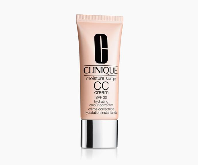 """**CC Cream** *It means: Colour Correcting* """"It's a lightweight formula that has a light yet buildable coverage if required. The main focus is colour correction,"""" says Melanie. """"The product contains an SPF, moisturiser and gives a lift to dull flat skin, and covers imperfections – great if you have pigmentation or suffer with redness, as it gives great coverage for dark spots. These products can have antioxidants and are infused with vitamins.""""  **Clinique Moisture Surge CC Cream SPF 30 Hydrating Colour Corrector, $45**"""