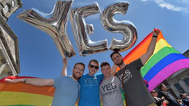 After the Irish referendum gay-activists celebrate.