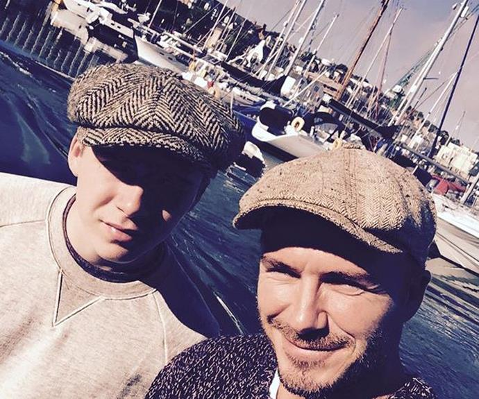 In a very regular father-son-style outing 40-year-old David Beckham took his eldest son Brooklyn out on a fishing trip on the Dorset coastline, pictures of which the pair shared on social media earlier this year.
