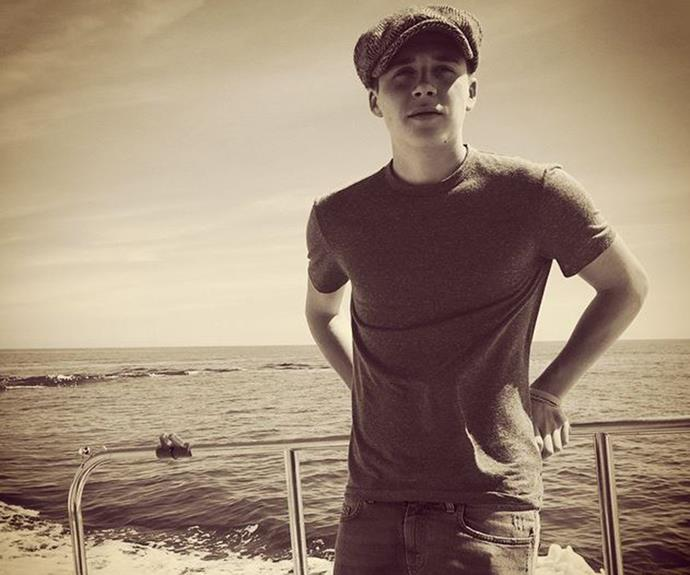 "Brooklyn Beckham's sepia snap, captioned: ""Fishing with Dad."""