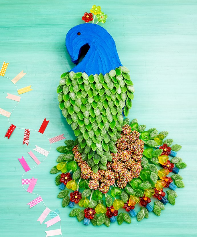 Princely Peacock from the [BUMPER BOOK OF KIDS CAKES.](https://www.magshop.com.au/bumper-book-kids-birthday-cakes)