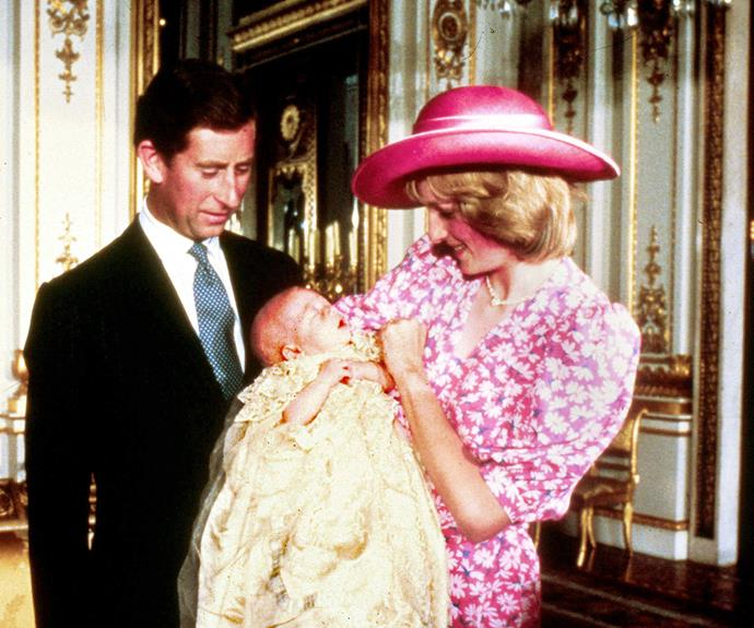 If it isn't little William! Here he is at his christening with mum, Diana and dad, Charles.