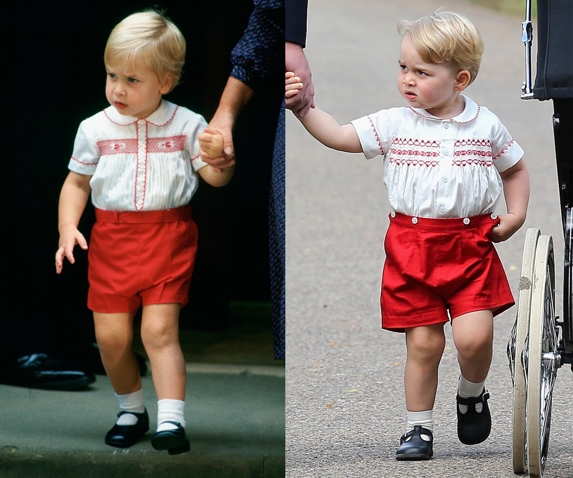 The outfit little George wore at the christening was a replica of the one that his father, Prince William, wore when he first went to meet his baby brother for the first time in 1984.