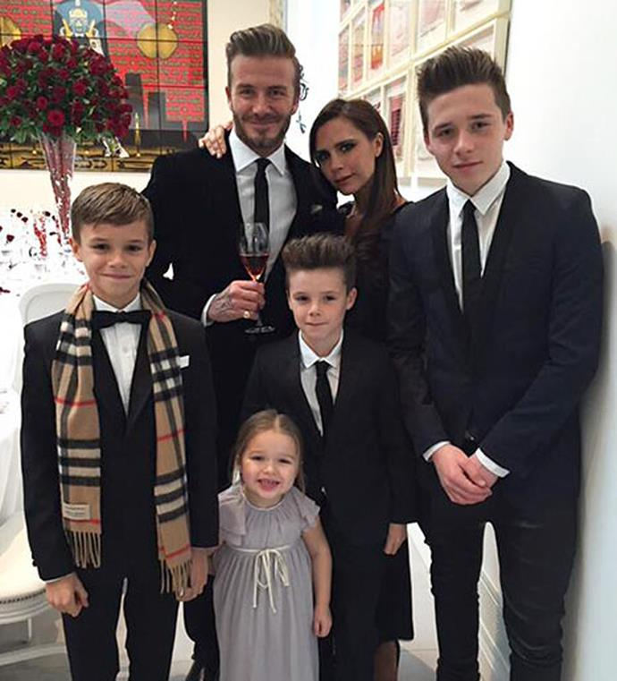 """Celebrating her 16th wedding anniversary Victoria took to Twitter to share an intimate snap of her family, writing, """"Happy anniversary, I love u so much x I'm so proud of our beautiful family x."""""""