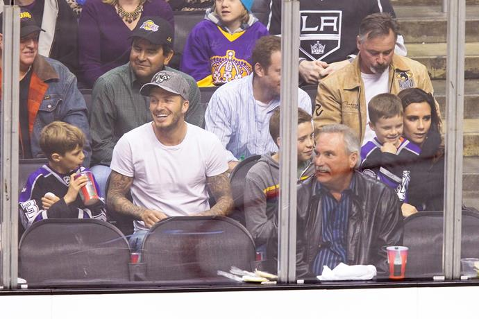 Beckham family outing to the ice hockey.