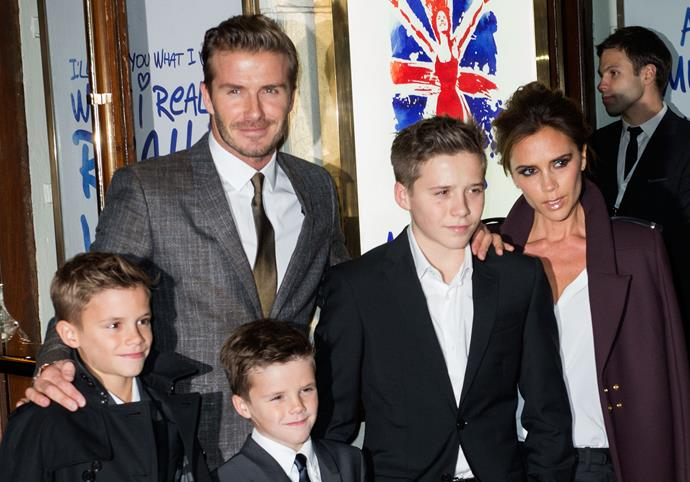 The Beckham brood at the premiere of Viva Forever, the musical based on the Spice Girls in London's Piccadilly.