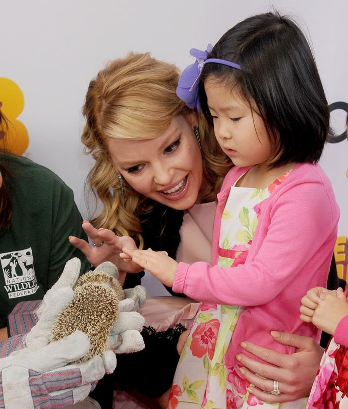"Actress Katherine Heigl has two adopted daughters - here she is with her eldest daughter Nancy Leigh ""Naleigh"" Mi-Eun Kelley whom she and her hubby Josh Kelley adopted from South Korea."
