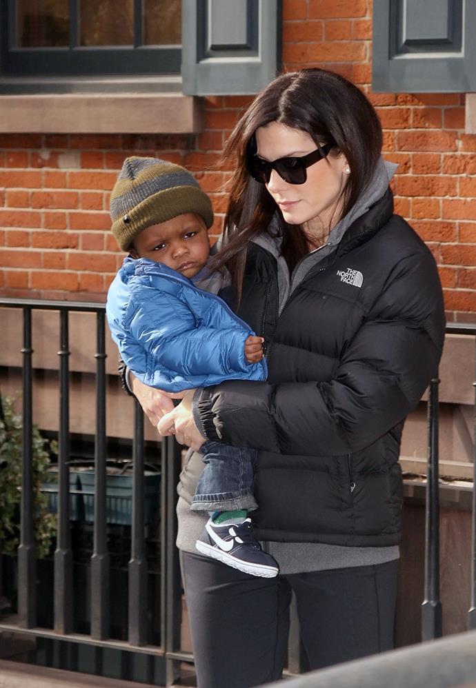 Oscar-winner Sandra Bullock adopted her son Louis in 2010.