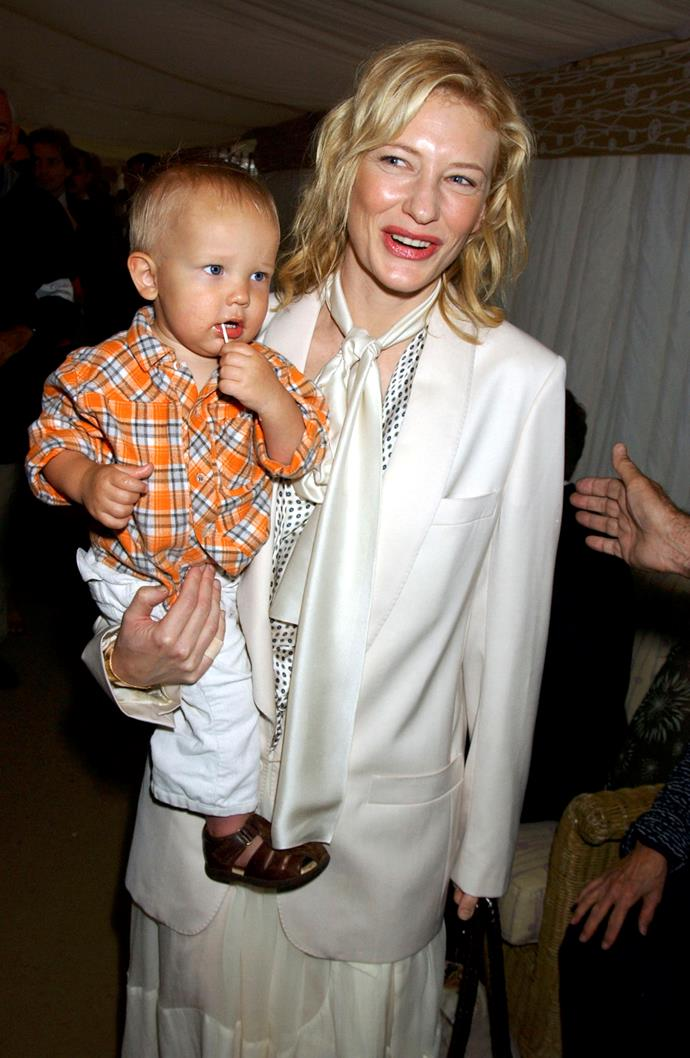 Earlier this year Cate Blanchett announced the adoption of her daughter, Edith Vivian Patricia Upton. Here is a throwback of the mum of three with her son Roman at the Cartier International Day at Guards Polo Club in 2005.