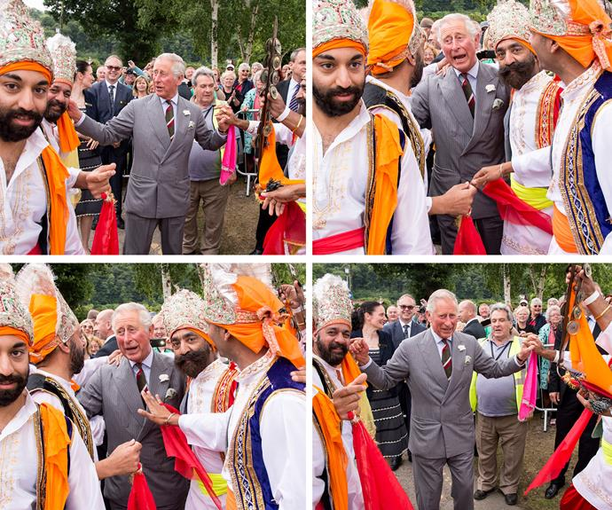 """Prince Charles at the Eisteddfod Cultural festival in Wales on Tuesday. Charles first spoke of his fondness of boogying in an interview with The Weekly in 1974, declaring """"if I hear rhythmic music, I just want to get up and dance."""""""