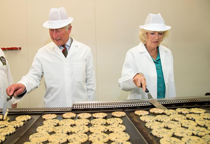 Charles and Camilla also visited a local cookie factory.