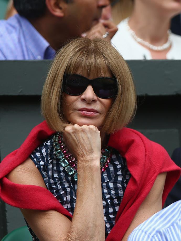 Whilst Vogue's Anna Wintour kept her usual calm composure.