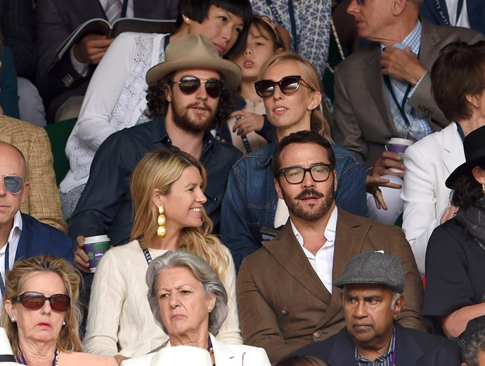 Forgoing the 'formal' dress code, actor and director duo Aaron Taylor-Johnson and Sam Taylor-Johnson (back) sat with Jeremy Piven and friend (front).