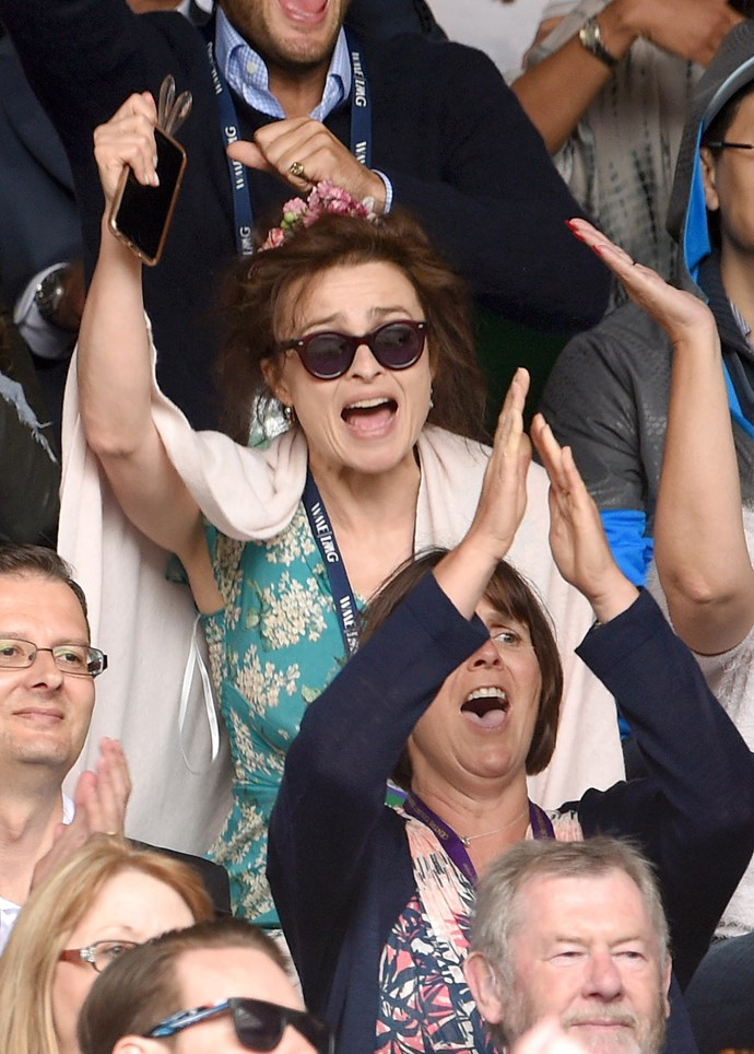 Helena Boham Carter certainly looked invested, the *Harry Potter* actress brought her children along.