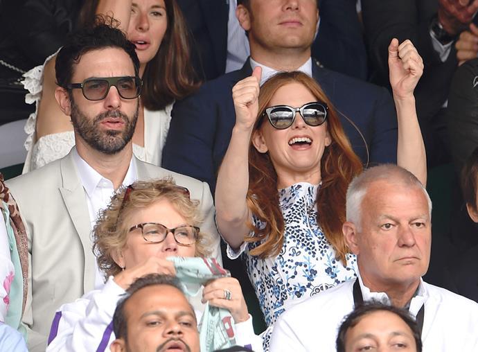 Sacha Baron Cohen (aka Borat) and wife, Isla Fisher, cheered on.