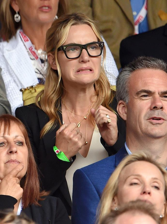 In a crowd of enthralled celebrities, Kate Winslet looked very invested.