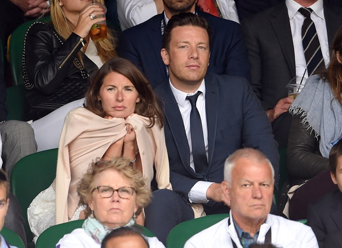 Chilly, Jools? British chef, Jamie Oliver, attended with wife, Jools Oliver.