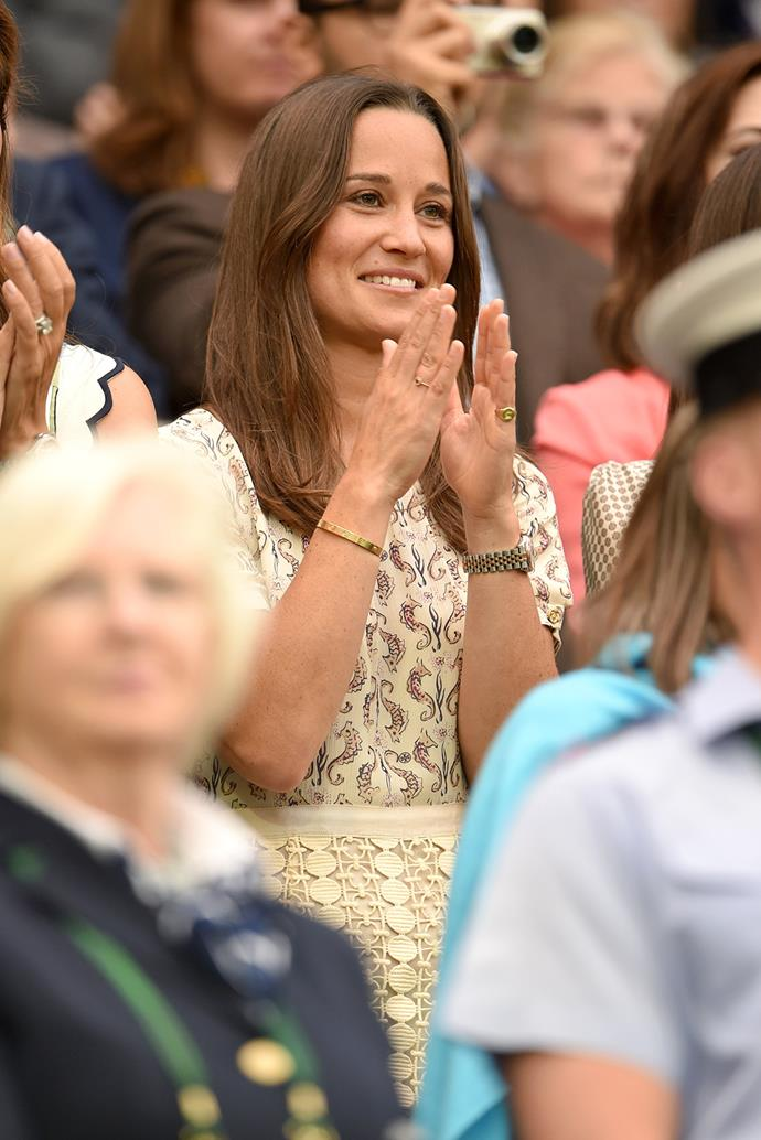 After the Duke and Duchess of Cambridge's appearance last Wednesday, Kate's sister Pippa Middleton popped in to see Djokovic's win.
