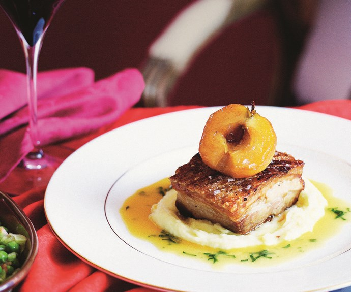 Roast pork belly with caramelised apples
