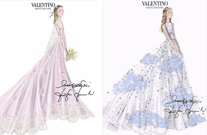 The bride's Valentino dresses.