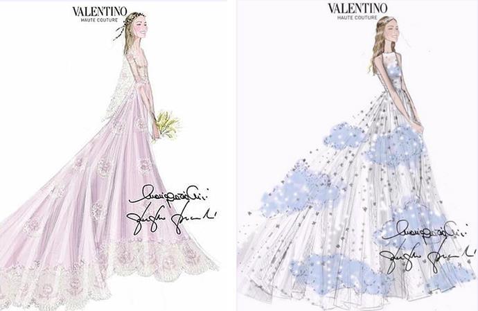 The bride's Valentino dresses.