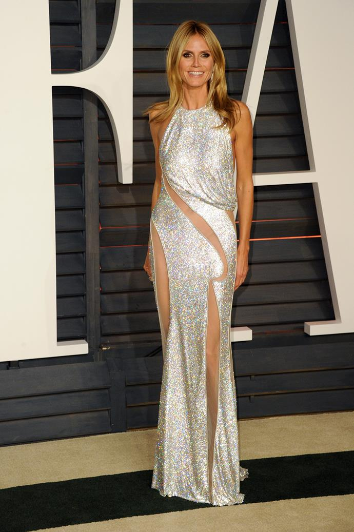 42-year-old Heidi Klum is no stranger to a slinky dress - or flaunting her curves.