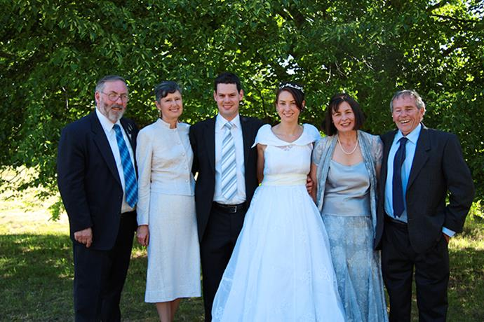 Sue Neill-Fraser (right in blue) on a happy occasion - her daughter Sarah's wedding in 2007.