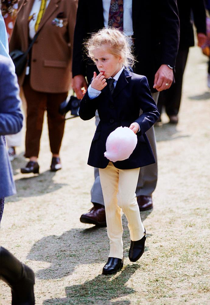 Princess Beatrice enjoying some fairy floss after the Royal Windsor Horse show.
