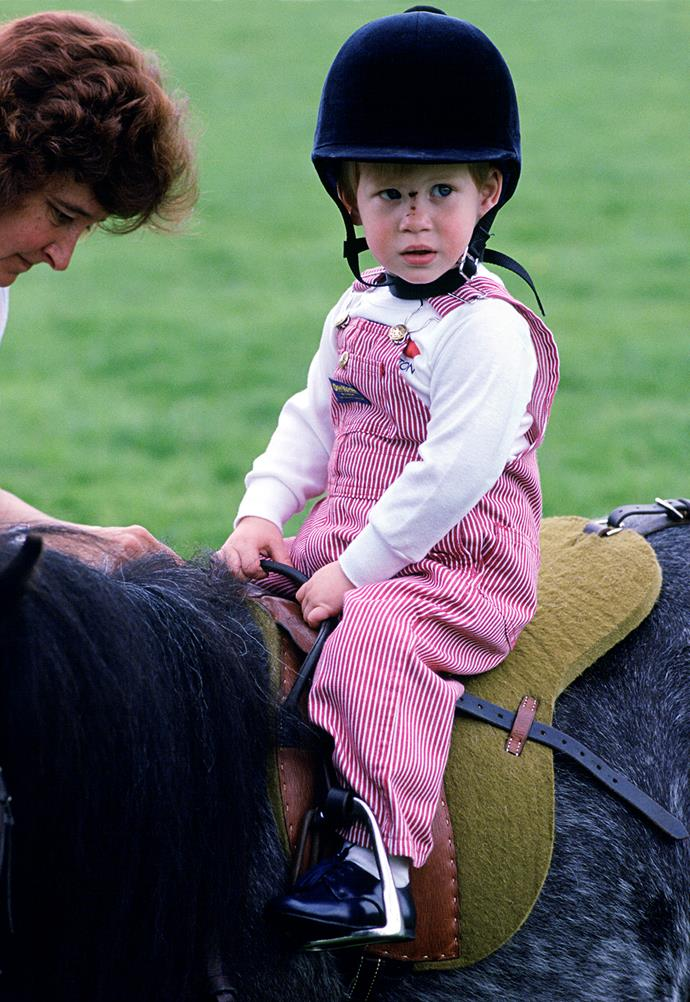Prince Harry sat atop his first horse in 1986 at Highgrove.