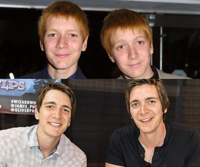 The Weasley Twins are portrayed by real life twins James and Oliver Phelps. Not too dissimilar from their characters in the Potter flicks, they are often seen in at sporting events. However, now they solemnly swear that they are up to lots of good. They recently completed a charity skydive for cancer research in Australia.