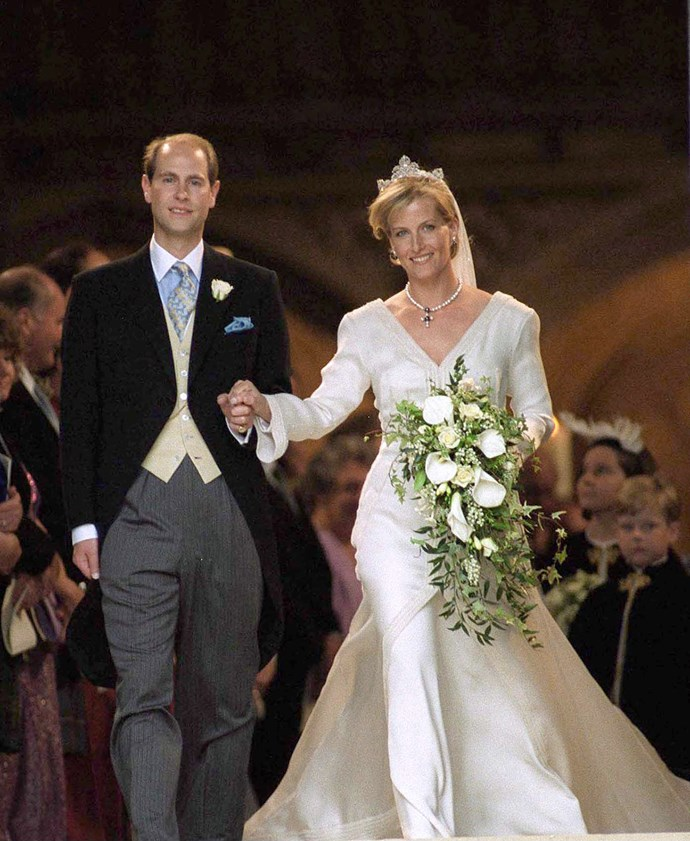 Sophie Rhys-Jones wore a Samantha Shaw organza silk dress with long sleeves for her wedding to Prince Edward. She borrowed a tiara from the Queen for the occasion.