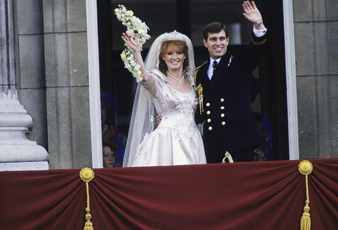 For her wedding to Prince Andrew, Sarah Ferguson wore an ivory-silk wedding grown designed by Lindka Cierach, with a tiara she chose from jewellers, Gerrards, that was purchased by the Queen.
