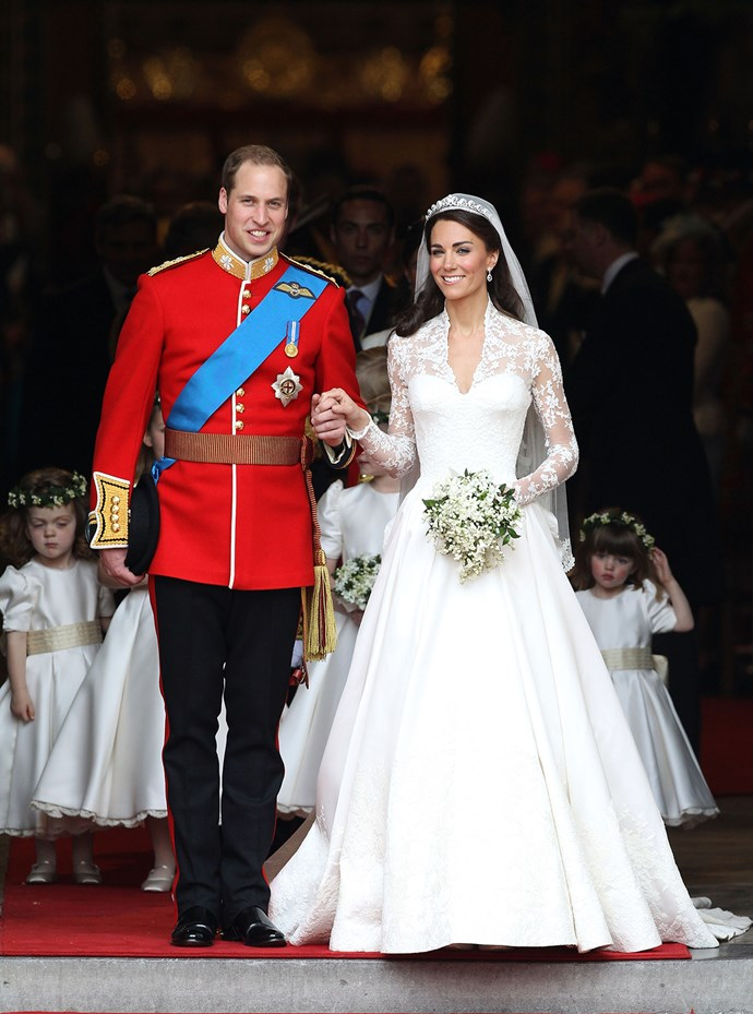 "You'll be hard pressed to find a person who hasn't seen this dress. Catherine Middleton wore a custom Alexander McQueen gown for her wedding to Prince William. For her tiara, she borrowed the Queen's ""Halo Scroll tiara""."
