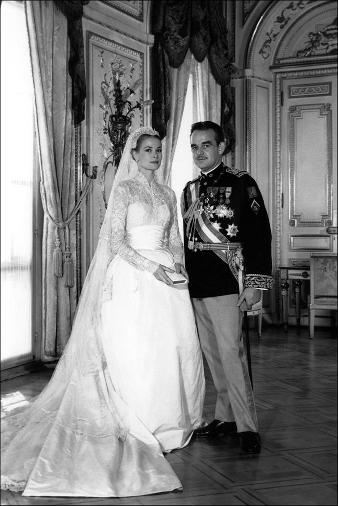 "Often called the ""most beautiful wedding dress of all time"", Grace Kelly's Helen Rose gown was made of silk organza and lace. She wore a Juliet cap instead of a tiara."