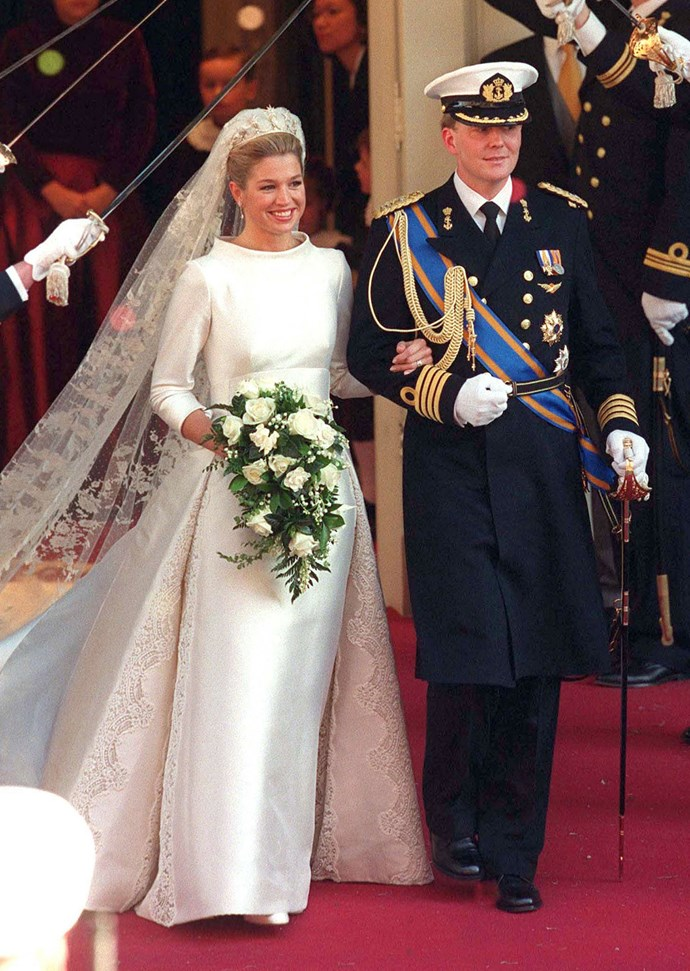 Maxima Zorreguieta Cerruti, later Queen Maxima, wore a structured ivory Valentino gown for her wedding, with the Pearl Button tiara, topped with diamond stars.