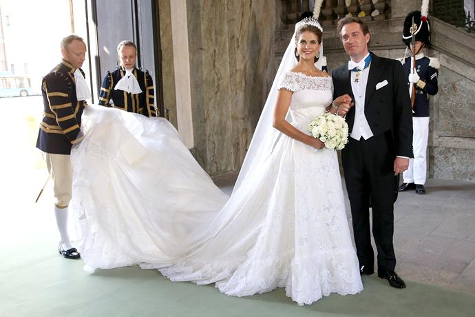 Princess Madeleine of Sweden also wore a Valentino gown. Hers featured an off the shoulder lace neckline with a full lace skirt. She wore the Modern Fringe Tiara.