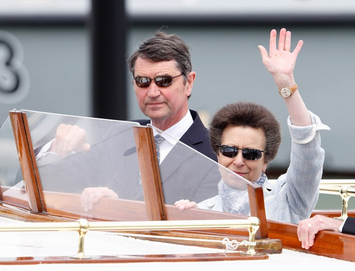 Anne, the Princess Royal, gives spectators a wave as she attends the Bicentenary Celebrations of The Royal Yacht Squadron.