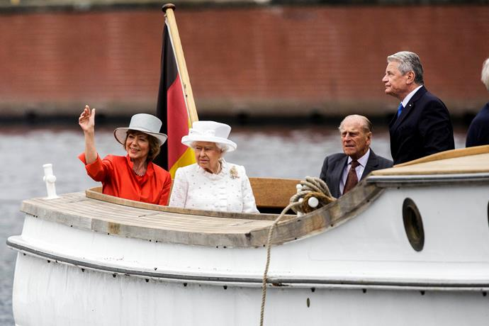One does enjoy a boat ride or two... Queen Elizabeth and Prince Philip took a leisurely sail whilst on a German visit.