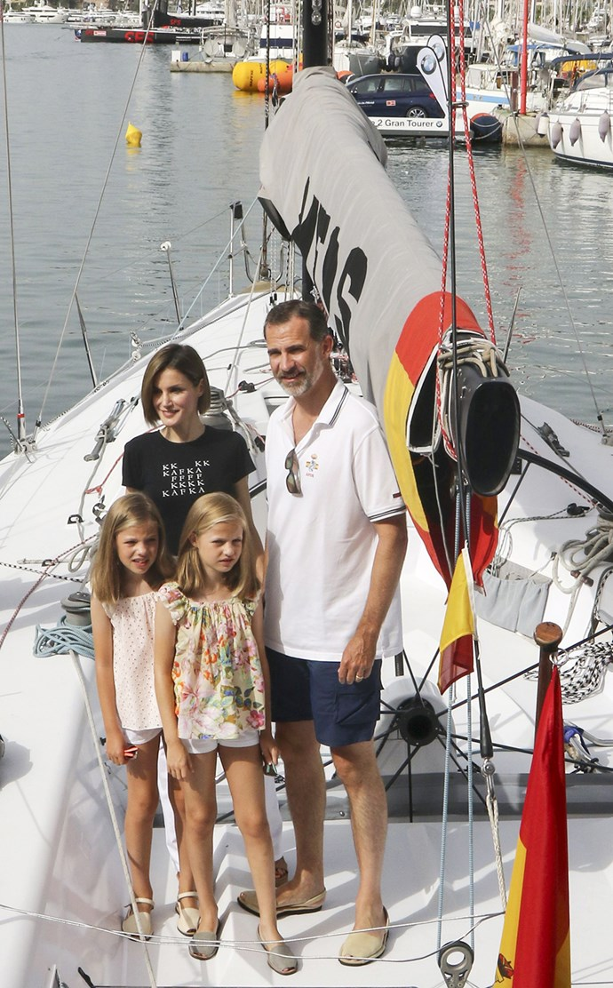 Which must be where the current King, Felipe VI, gets it! He takes his family, including Queen Letizia, and his daughters, Princess Leonor and Princess Sofia, out on the water frequently.