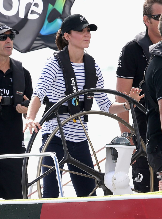 Sporty Kate is no stranger to commanding the high seas! She gleefully beat out her husband, Prince William, to take the top spot in a recent boating race in New Zealand.