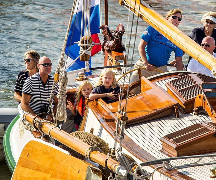 Queen Maxim and King Willem-Alexander of the Netherlands took their boat, The Green Dragon, out on the open seas for a summer's ride.
