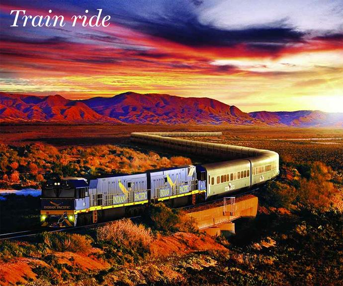 **Train.** If you're looking for a longer getaway and if the boarders allow for it, why not book a train holiday? Book a luxury cabin on the train including local fare and see the most stunning parts of Australia in fast forward. Check out the pit stops, including shuttles and tracks.