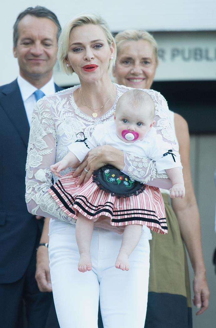 Charlene is obviously loving motherhood.