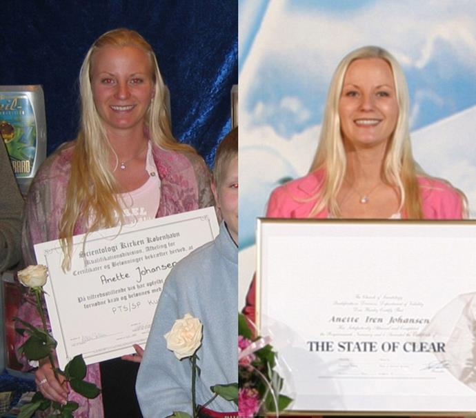 Anette with her various Scientology 'awards'.