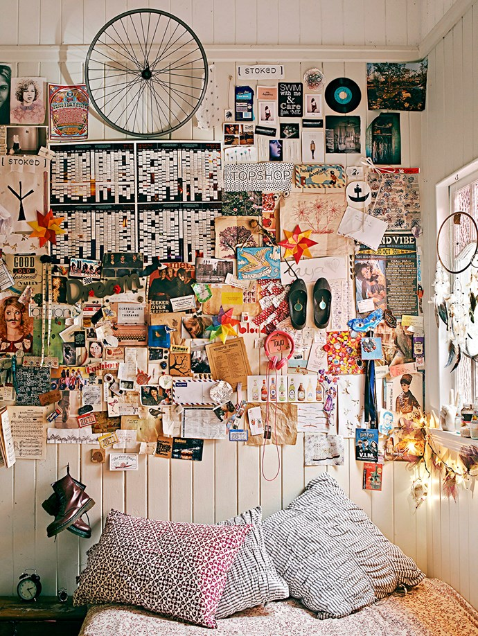 **Creative Focus.** Let your teen get creative by designing a wall full of their favourite things – there are no rules, almost anything that holds a memory or is dear to your tween can be stuck onto the feature wall.   *Image / Jared Fowler*