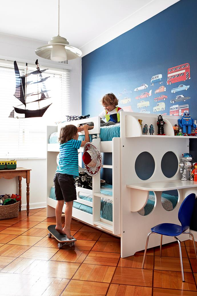 **Feature Wall.** A bold and bright feature wall can add focus and drama to a children's space. You can afford to be extra bold and playful when the feature is focused onto just one wall and not the entire space – get creative and use a fun and bright colour for maximum effect.  *Image / Armelle Habib*