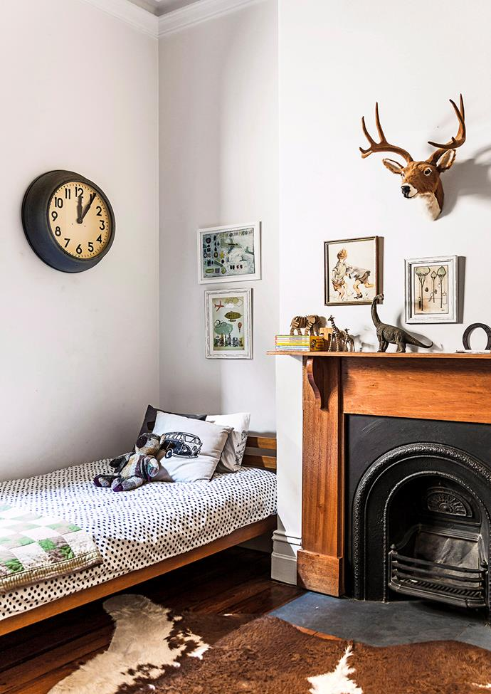 **Understated Fun.** Continue your decorating style into a children's bedroom space – warm, soft hues can be just as playful as bold colours if you mix in subtle playful elements and artwork.  *Image / Maree Homer*