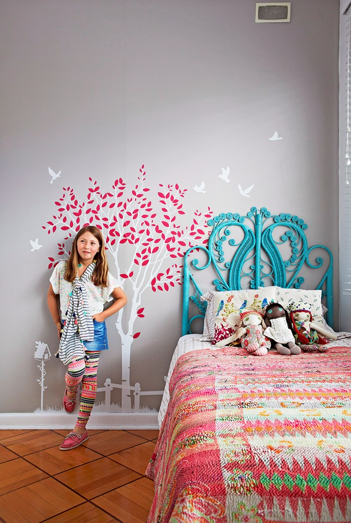**A Quirky Feature.** Wallpaper or wall motifs can be ideal for a children's room – especially in a tween's space. Make it a fun affair by selecting the design with your tween, so they are involved. Motifs are a quick and fun way to add a fresh touch to a children's space without re-decorating the entire room.  *Image / Armelle Habib*