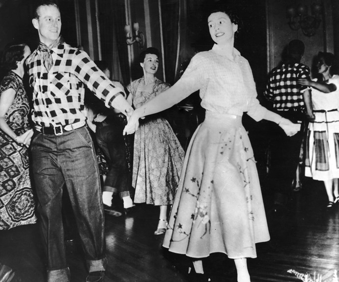 As a girl, Princess Elizabeth loved dancing, especially Scottish country dancing. Here, as a married woman, she relished the chance to take to the dance floor with her husband, now known as The Duke of Edinburgh, at a square dance in Ottawa, Canada, held in their honour by Governor-General Viscount Alexander, in October, 1951.